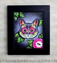 Day of the Dead Grey Tabby Kitty Cat Sugar Skull Art Print by PrettyInInkJewelry, $14.95