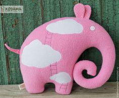 Слон в облаках, текстильная игрушка подушка слон, розовый слоник