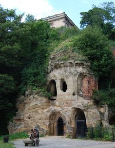 The caves below Nottingham Castle, UK including Mortimer's Hole, The River Leen ran below the castle in Medieval times and probably would have been used as a quick way in to the castle