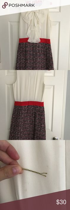 Kate Spade cream/red/black work or day dress Sz 4 Darling A-line silk bow top and wool knit skirt dress by Kate Spade. Size 4. True to size. Fitted at waist and wool skirt is A-line with interior silk lining. Tiny spot on the back of dress and slight discolor under arms, but not noticeable when wearing. kate spade Dresses
