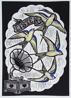 Listen Yellow - Hand Coloured Lino Print of Four Swallows and a Gramophone, Signed and Numbered Edition of 45