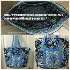 I made this #weekenderbag for myself.  I added 6 inner #pockets (3 on each side) and made #Frenchseams inside so there would be no raw edges.  I added a #monogram and also some ribbon along the raw edges of the zipper.  Love this bag! http://www.nancyzieman.com/blog/sewing-2/26-new-sewing-with-nancy-programs/