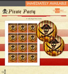 Pirate Cupcake Toppers  Printable Pirate Party by 2PartyPrintables, $5.00