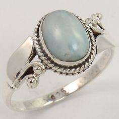 Natural LARIMAR Gemstone 925 Sterling Silver Designer Ring Size US 8 ! Best Gift #Unbranded