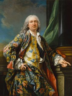 Carle Van Loo, Portrait of an unknown man, 1730-40. Oil on canvas, Château de Versailles, France. © Réunion des musées nationaux, Paris. More about silk design: V&A