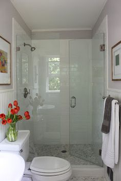 Inspiration for basement bathroom remodel. Love the glass shower door, paneled walls, and marble mini-hexagons floor tile