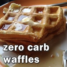 Zero Carb Waffles. No, I'm not kidding. Also has a recipe for low carb protein waffles. // 1 Scoop Vanilla Whey Protein 1 Large Egg 1 Large Egg white 1 tsp Baking Powder 2 tbsp water Few dashes cinnamon (optional) 1 packet Stevia (optional)