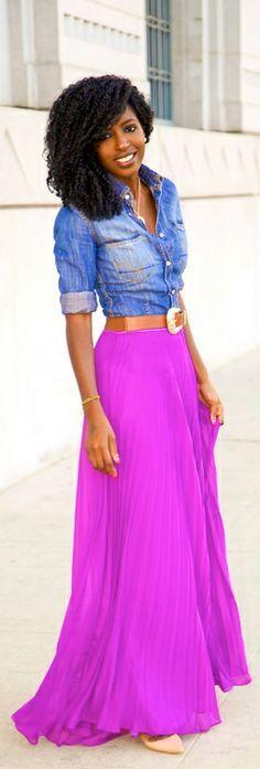 LOVE the bright skirt and denim shirt