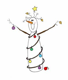 christmas doodles Snowman with lights Watercolor Christmas Cards, Christmas Drawing, Christmas Paintings, Watercolor Cards, Christmas Doodles, Diy Christmas Cards, Christmas Clipart, Christmas Rock, Christmas Lights