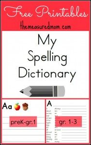 FREE Spelling Dictionary Printables for Kids!