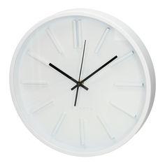 Deze moderne witte klok met zwarte wijzers. De klok heeft een moderne uitstraling. Vanwege de rustige kleurencombinatie past de klok in bijna iedere ruimte. Afmeting: Ø 35 cm - Wandklok Wit, 35 cm