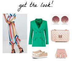 LOOK VESTIDO RAYAS COLORES CON BLAZER VERDE. #atrendylife #personalshopper #vestidorayas #colorful #blazer #blazerverde #zapatillas #sneakers #bolsotipochanel #gafassolredondas #cinturonrosa Vestidos Retro, Retro Dress, Get The Look, Yellow, Blazer, Dresses, Life, Fashion, Sunglasses