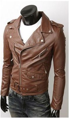 Men's Biker Style Faux Leather Jacket. Best selling motorcycle style jacket. $20 instant discount! No Coupon Require! Reg $59.95! Now $39.95! Material : PU Leather Color : Brown or Black Size : XS, S,