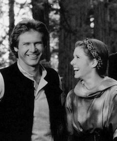 """Harrison and Carrie on the set of """"Return to the Jedi"""""""