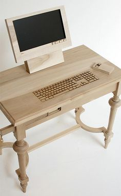 "Wooden Computer Workstation Marlies Romberg fuses wood-crafted furniture design, with an integrated desktop computer, abruptly questioning ideas of the ""traditional."""