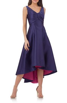 Free shipping and returns on Carmen Marc Valvo Infusion Fit & Flare Midi Dress at Nordstrom.com. Sleek princess seams ease a pleat-sculpted bodice into the twirly high/low skirt of this radiant party dress.
