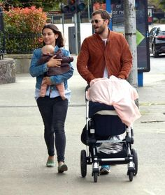 The happy family. Jamie Dornan his wife and their baby.
