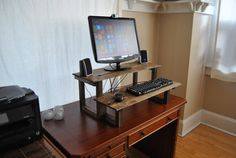 Standing Computer Desk,  Recycled Oak and Pine, Dark Walnut Finish Color