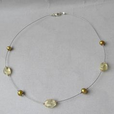 Vintage Retired SILPADA Sterling Silver, Citrine & Freshwater Pearl Illusion Necklace
