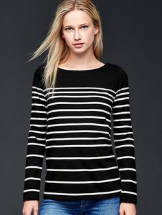 Novelty stripe boatneck top Product Image