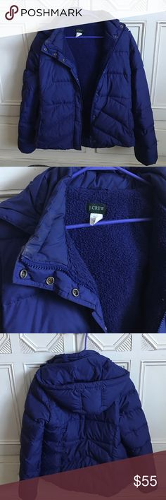 J.Crew Puffer Jacket with removable hood Large Purple blue puffer jacket with fleece lining.  Snap and zip closer.  Removable snap hood.  Snap close pockets.  Hits at hip.  Flattering, warm, fun.   100% poly lining and 80% down fill. J. Crew Jackets & Coats Puffers