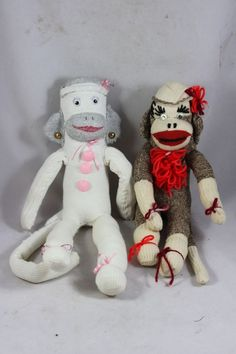 "2 Vintage Handmade Sock Monkey Dolls Grey 17"", Pink 20"" tall JB"