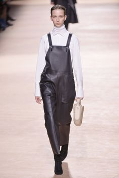 Dungarees come in the softest of leather at #Hermès lending the look a dark and urban vibe. #PFW #AW15