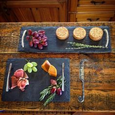 Hand cut Welsh slate tableware - and a hand forged cheeseknife! Perfect gift ideas for people who already have everything! Slate Board, Slate Cheese Board, Tile Crafts, Diy Coasters, Home Signs, Food Gifts, Beautiful Kitchens, Creative Crafts, Afternoon Tea