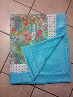 Baby blanket paisley with Coral  turquoise minky dot