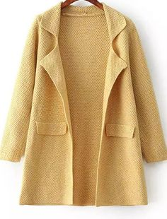 Yellow Lapel Long Sleeve Chunky Cardigan 36.67