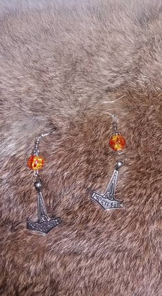 faux amber mjolnir thor's hammer earrings hook dangle drop