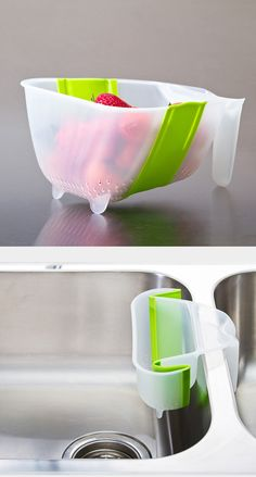 Collapsible colander - I like that it hangs handsfree on a double sink