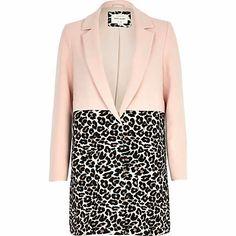 Pink leopard print two-tone coat £50.00