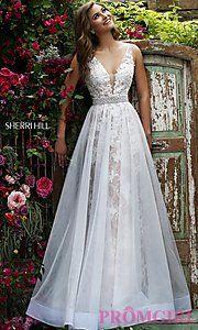 Buy Lace Long V-Neck Prom Dress SH-11282 by Sherri Hill at PromGirl