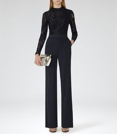 Womens Night Navy Lace-top Jumpsuit - Reiss Oman