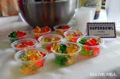 Vodka Gummy Bears -- so yummy, but be careful they pack a punch! #superbowl #party