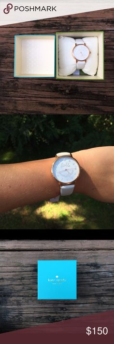 Kate Spade Hello Sunshine Watch Brand new! Only worn for pictures! White leather band with gold plating kate spade Accessories Watches
