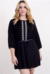 Ardent Courtship 3/4 Sleeve Embroidered Peasant Dress in Black #dress #dresses #boutique