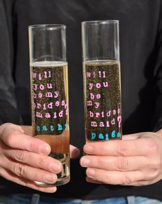 will you be my bridesmaid champagne flutes Wedding 2017, Wedding Tips, Voss Bottle, Water Bottle, Will You Be My Bridesmaid, Champagne Flutes, Bridesmaid Ideas, Bridesmaids, Bling