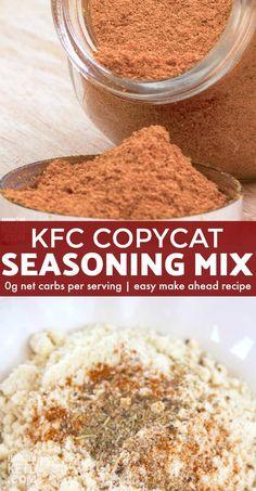 This Copycat KFC Seasoning Recipe takes any chicken recipe from average to amazing! # This Copycat KFC Seasoning Recipe takes any chicken recipe from average to amazing! Kfc Spice Recipe, Kfc Seasoning Recipe, Fried Chicken Seasoning, Seasoning Mixes, Kfc Fried Chicken Recipe, Chicken Spices, Kfc Gravy Recipe, Keto Seasoning, Gastronomia
