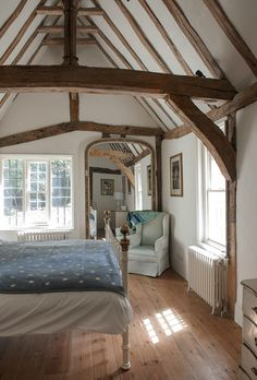 BEDROOM — with vaulted ceiling and beams! bedroom