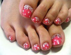 Cute pedi toe nail art design..