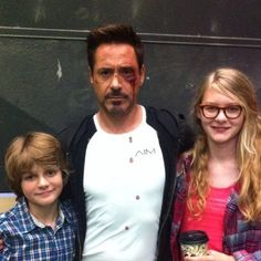 """Robert Downey Jr. with castmate Ty Simpkins (Harley) and Ty's sister, actress Ryan Simpkins, on the set of """"Iron Man 3"""""""