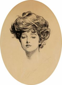 Mainstream Illustration, CHARLES DANA GIBSON (American, 1867-1944). The Gibson Girl.Pen and ink on paper. 12.5 x 9.5 in.. Signed lower cente...