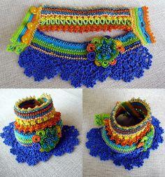 Crochet Cuff Bracelet (+ BONUS 1Kokeshi crochet doll) Beaded Bracelet, Crochet…