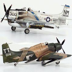 """Twins"" Douglas Skyraider 1/48 Tamiya and Italeri. Modeler Zhi-Wen Chen #scalemodel #plastimodelismo #miniatura #miniature #maqueta #maquette #tamiya #italeri #usinadoskits #udk #plastickits #hobby #diorama #skyraider #voo #fly #voar"