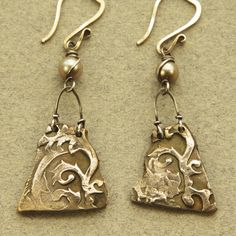 "Stamped solder with patina of some sort. ""Shard earrings"" - Kim Otterbein Design"