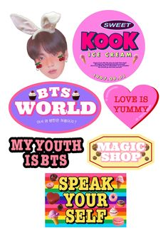 Pop Stickers, Red Bubble Stickers, Printable Stickers, Kpop Diy, Aesthetic Stickers, Bts Boys, Sticker Design, Bts Wallpaper, Polaroid