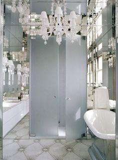 Mirrors and white.
