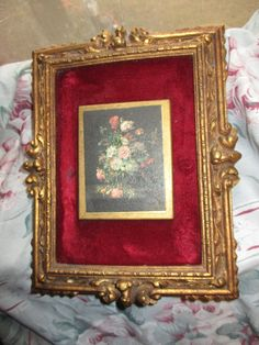 Antique Look Ornate Victorian Gold Gesso Syroco Style Designs Framed Cabbage Roses Floral Bouquet Still Life Print Velvet Picture Frame by treasuretrovemarket on Etsy
